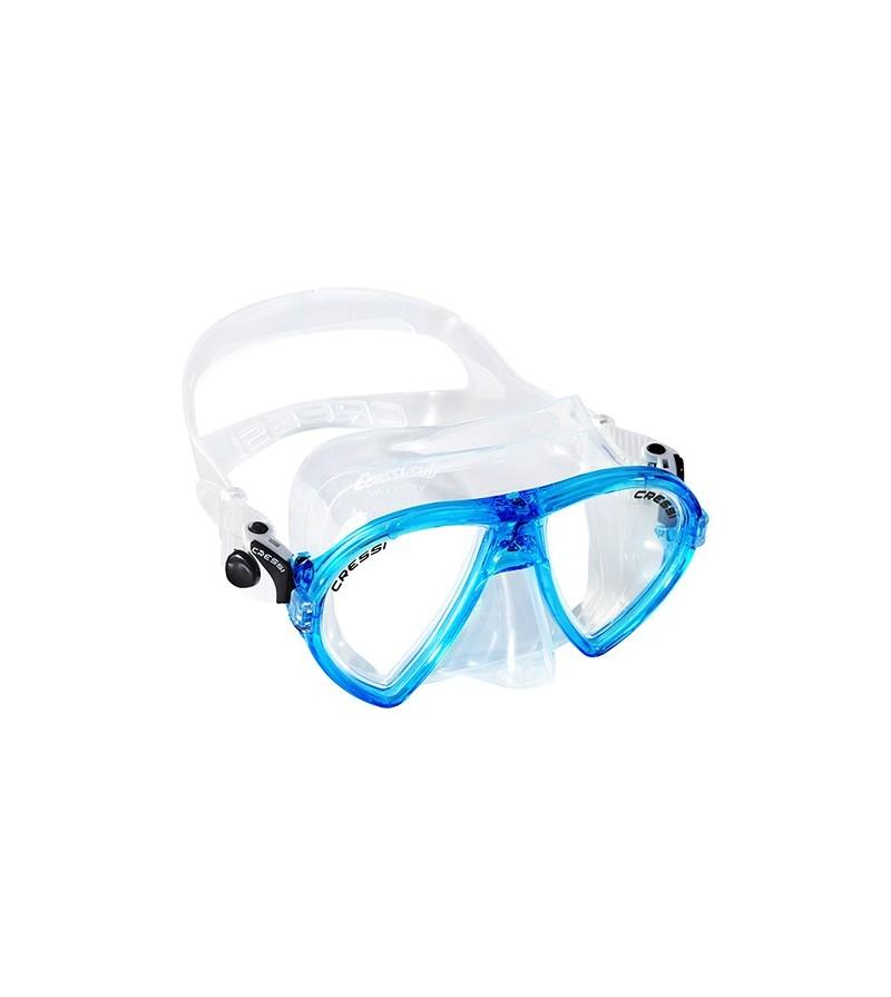 Masque à deux verres inclinés Cressi Ocean en silicone transparent pour la plongée, l'apnée & le snorkeling. Bleu aigue-marine