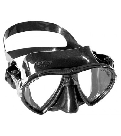Masque à deux verres inclinés Cressi Ocean en silicone noir pour la chasse sous-marine, la plongée, l'apnée & le snorkeling