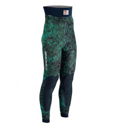 Pantalon de combinaison Cressi Scarfano en néoprène 5mm pour la chasse sous-marine & l'apnée - Camouflage vert mimetic