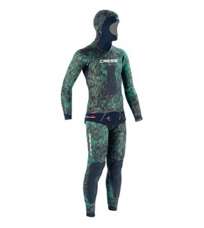 Veste de combinaison Cressi Scarfano en néoprène 7mm pour la chasse sous-marine & l'apnée - Camouflage vert mimetic