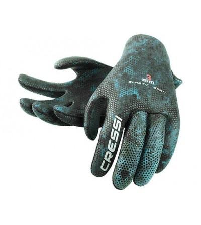 Gants antidérapants en néoprène souple & élastique Cressi Scorfano 3mm camouflage vert pour la chasse sous-marine et l'apnée