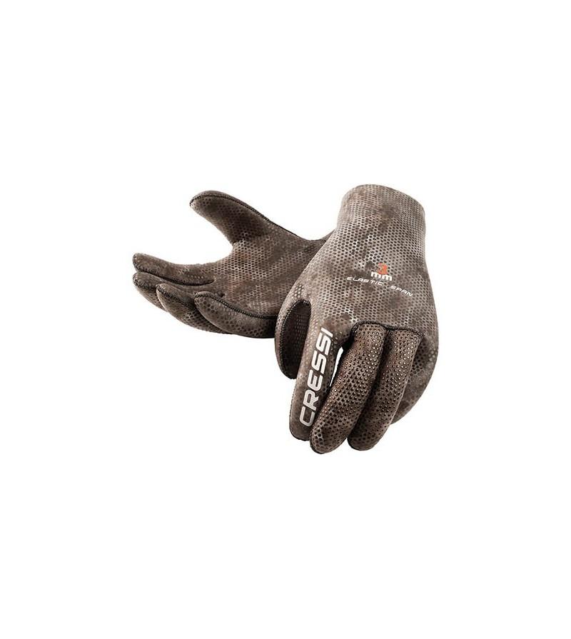 Gants antidérapants en néoprène souple & élastique Cressi Tracina 3mm camouflage marron pour la chasse sous-marine et l'apnée