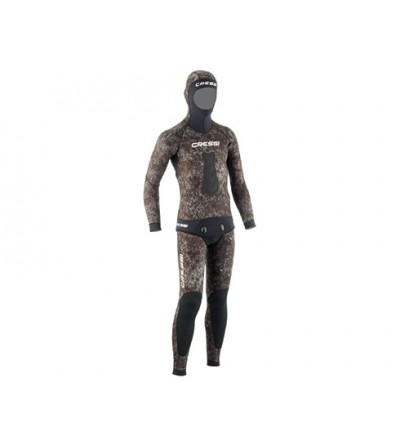 Veste de combinaison Cressi Tracina en néoprène 5mm pour la chasse sous-marine & l'apnée - Camouflage marron foncé
