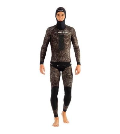 Veste de combinaison Cressi Tracina en néoprène 7mm pour la chasse sous-marine & l'apnée - Camouflage marron foncé