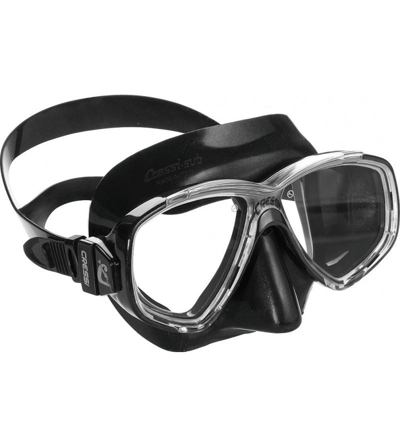 Masque Cressi Perla en silicone noir pour le snorkeling, la natation mais aussi pour la plongée, l'apnée & la chasse sous-marine
