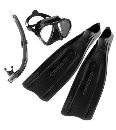 Pack Cressi noir avec paire de plames Pro star, masque Matrix, tuba gamma pour plongée, snorkeling, apnée et chasse sous-marine