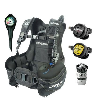 Pack gilet stabilisateur de plongée réglable Cressi Start, manomètre, détendeur & octopus AC2 XS Compact. Idéal pour débuter