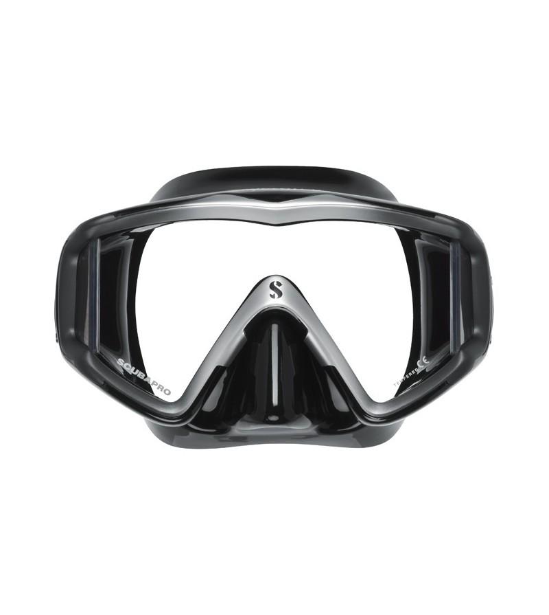 Masque monoverre avec vitres latérales Scubapro Crystal Vu pour une vision panoramique - Noir / Argent