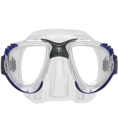 Masque deux verres à faible volume Scubapro Scout avec jupe en silicone transparent & lentilles de correction optique en option