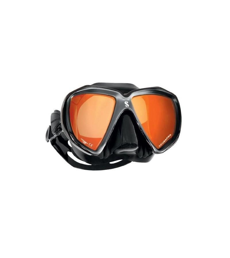 Masque deux verres Scubapro Spectra avec jupe en silicone & optique miroir - noir/argent