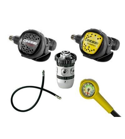 Pack idéal pour débuter ou club comprenant Détendeur Cressi AC2 XS Compact DIN & octopus, manomètre, flexible Direct System