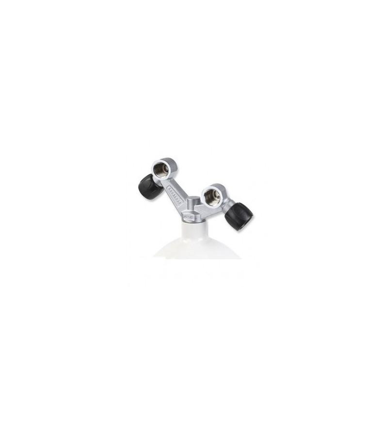 Robinet TAG 300 bars 2 sorties Aqualung permettant le montage de détendeurs DIN uniquement