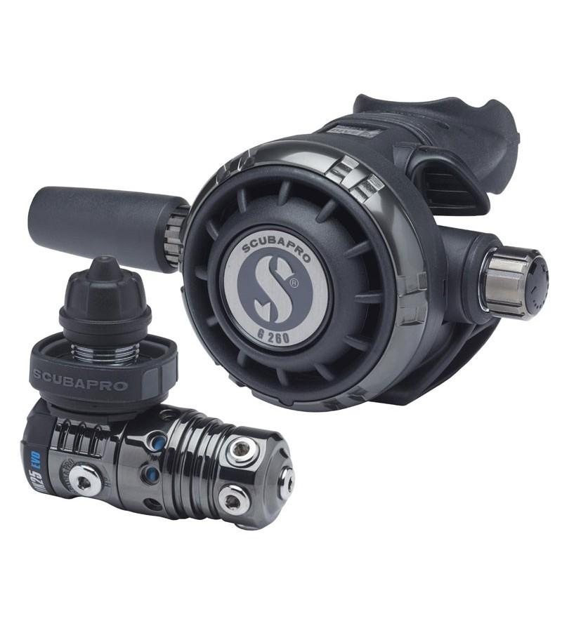 Détendeur compensé de plongée Scubapro MK25 EVO/G260 DIN avec revêtu Black Tech pour la plongée en eau froide, TEK & spéléo
