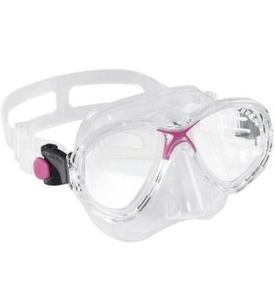 Masque à deux verres Cressi Marea en silicone transparent pour le snorkeling, natation, plongée pour femme & enfant. Rose