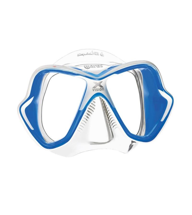 Masque deux verres Mares X-Vision Ultra avec jupe en silicone Liquidskin pour la plongée & le snorkeling - Transparent / Bleu
