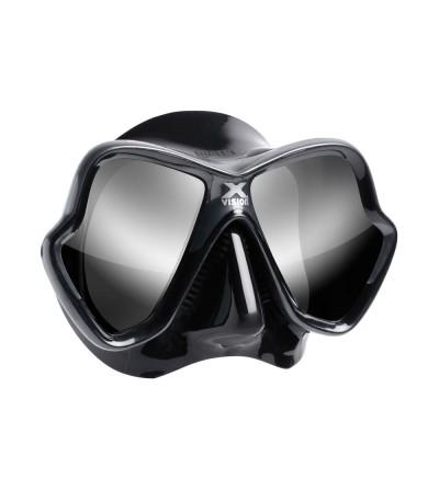 Masque deux verres Mares X-Vision Ultra Noir / Gris avec jupe en silicone Liquidskin et verre miroir Argent