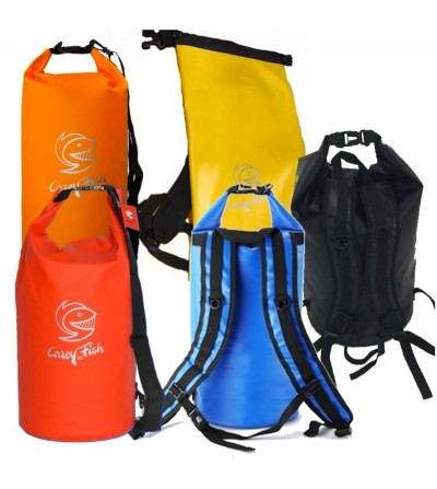 Sac à dos étanche & solide Crazy Fish standup 10L - Noir, rouge, orange abricot, jaune, bleu royal