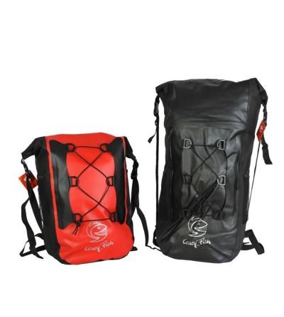 Sac à dos rectangulaire étanche & solide Crazy Fish Explorer 35L - noir ou rouge