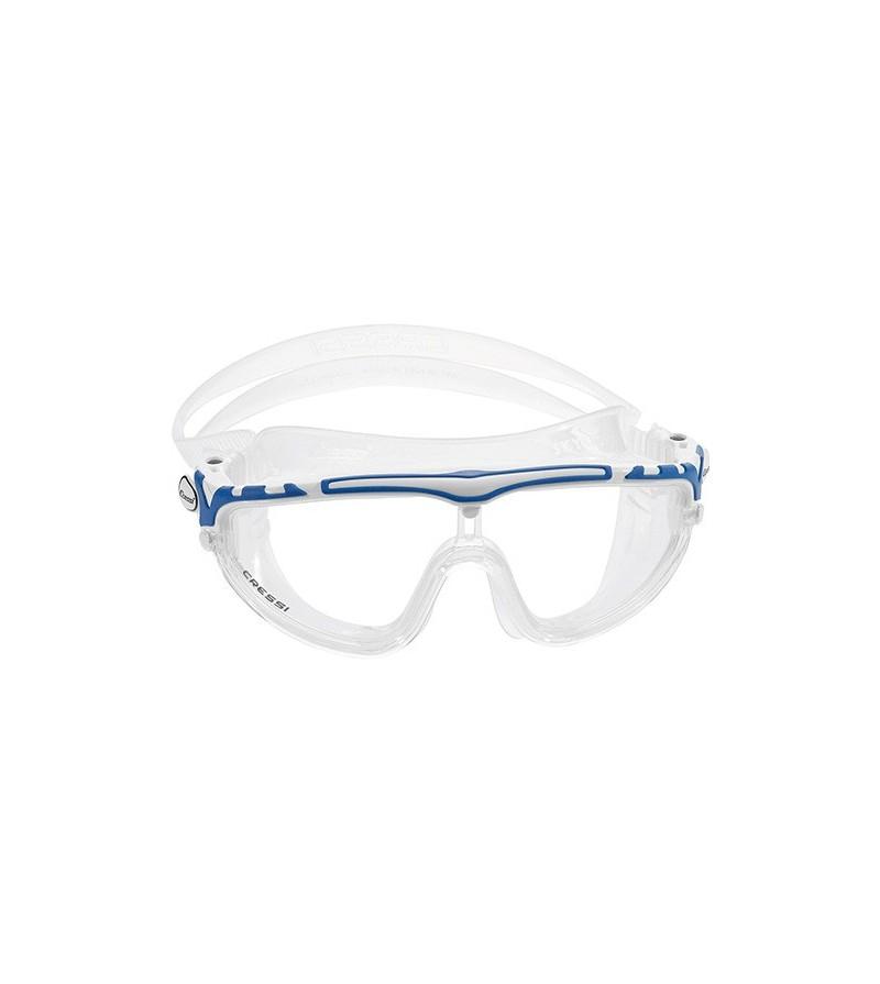 Lunettes masque de nage mono-verre Cressi Skylight avec large champ de vision & excellente étanchéité blanc/bleu