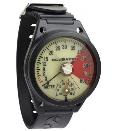 Profondimètre analogique bracelet Scubapro à porter au poignet avec boitier anti-choc 60m et thermomètre intégré