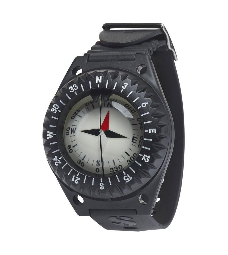 Compas Boussole Scubapro FS-1.5 simple, fiable, pratique à lire avec sa fenêtre latérale et conçu pour être porté au poignet