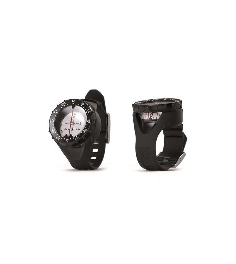 Boussole Compas Aqualung avec cadran phosphorescent, fenêtre de lecture latérale et bracelet