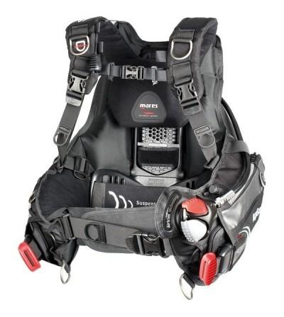 Gilet Stabilisateur réglable de plongée spécial voyage Mares Hybrid AT avec dosseret repliable, Airtrim & système lest MRS PLUS