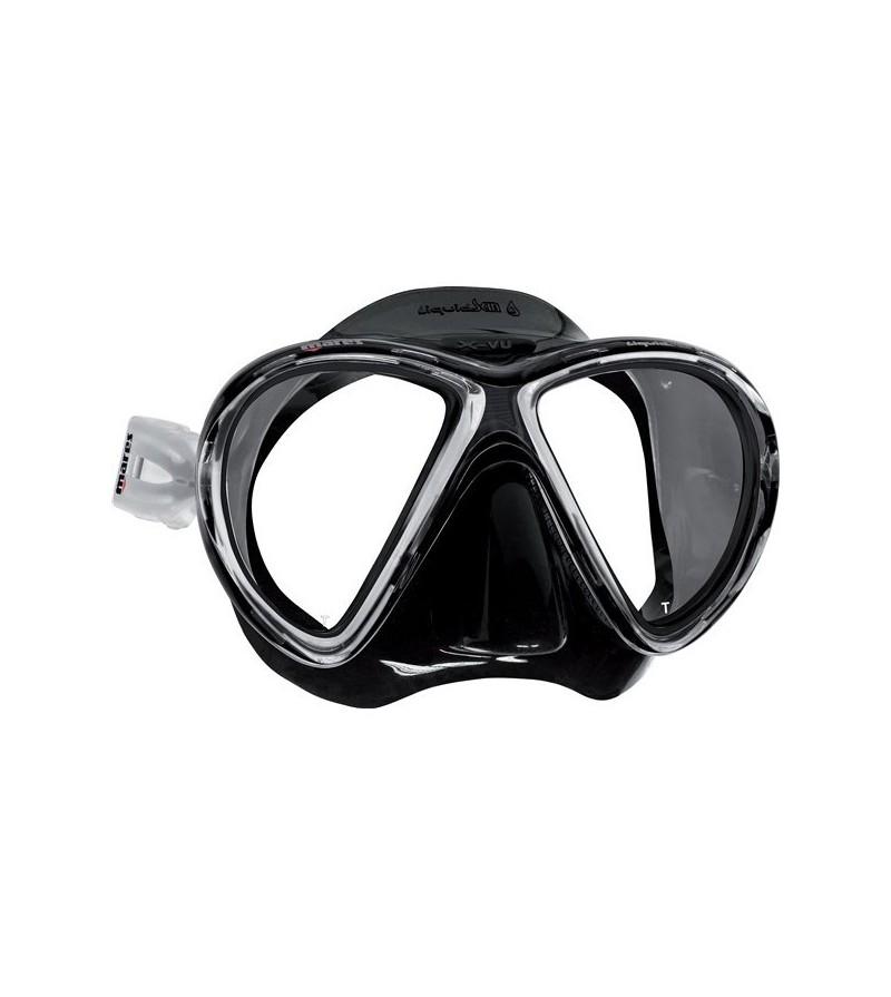 Masque deux verres à petit volume Mares X-VU avec jupe en Liquidskin noir