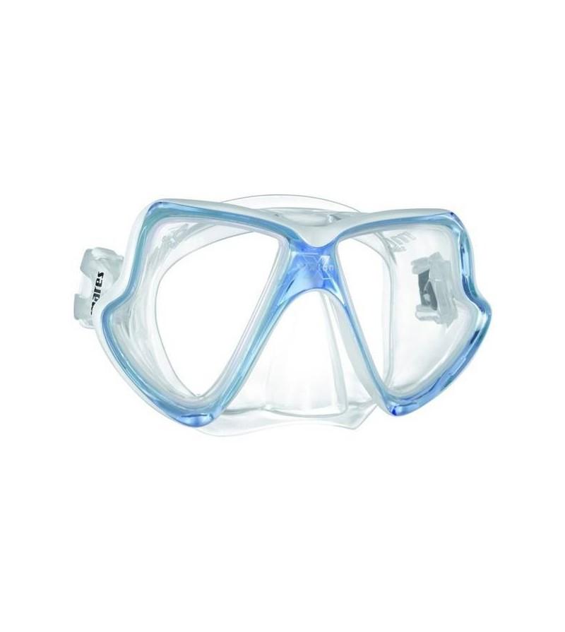 Masque deux verres Mares X-Vision Mid avec jupe en silicone spécial visage étroit pour la plongée & le snorkeling - bleu clair