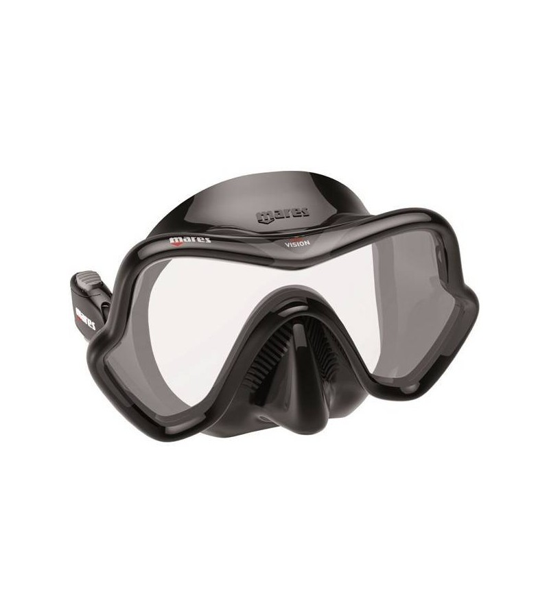 Masque monoverre Mares One Vision avec jupe en silicone noir, grand champ de vision pour la plongée & le snorkeling - gris