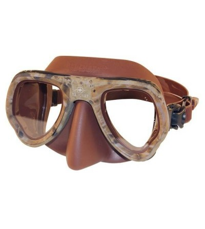 Masque deux verres à petit volume Beuchat Micromax avec jupe en silicone la chasse sous-marine & l'apnée - camo marron