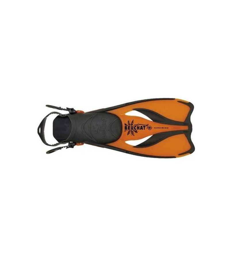 Palmes réglables récréative Beuchat Oceo confortable et facile à mettre pour le snorkeling - Pour adultes et enfants - orange