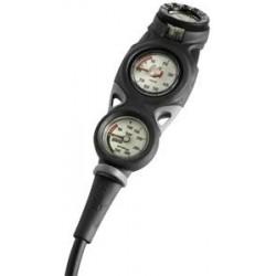 Console à trois instruments analogiques de plongée Mares Mission 3 avec manomètre, profondimètre et compas à bain d'huile