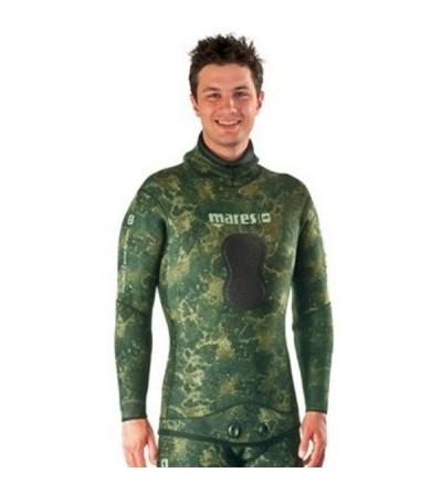Veste de combinaison Instinct 35 camo vert en néoprène refendu 3.5mm Mares Pure Instinct pour la chasse sous-marine et l'apnée