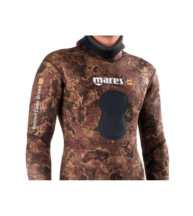 Veste de combinaison Instinct 55 camo marron en néoprène refendu 5.5mm Mares Pure Instinct pour la chasse sous-marine et l'apnée