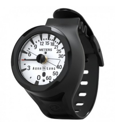 Profondimètre analogique Aqualung 60 mètres avec bracelet à porter au poignet, indique profondeur actuelle et maximale