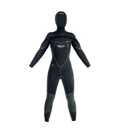 Combinaison femme monopièce humide de plongée Beuchat Med C-Zip en néoprène Elaskin 8 & 7mm avec cagoule et intérieur polaire