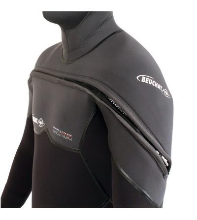 Combinaison homme monopièce humide de plongée Beuchat Med C-Zip en néoprène Elaskin 8 & 7mm avec cagoule et intérieur polaire
