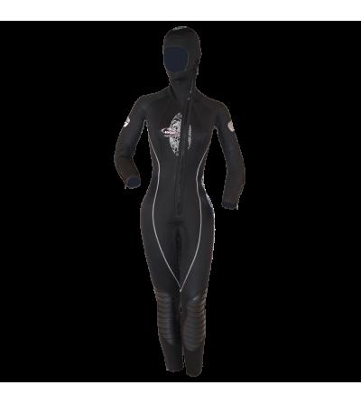 Combinaison humide femme de plongée monopièce Beuchat Focea First en néoprène 6.5mm avec cagoule attenante pour usage intensif