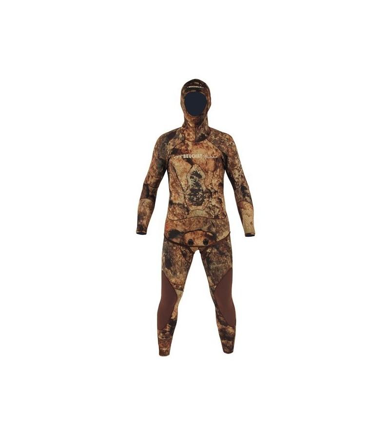 Combinaison deux pièces Beuchat Rocksea Competition en néoprène refendu 7mm camouflage pour la chasse sous-marine et l'apnée