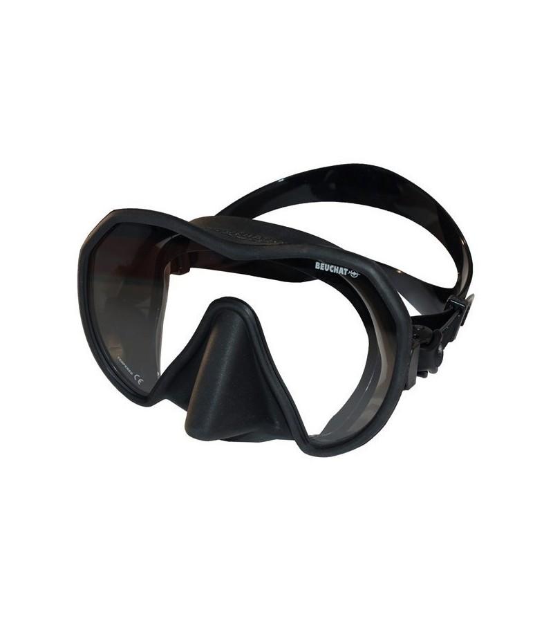 Masque Monoverre Beuchat Maxlux S à petit volume en silicone pour la chasse sous-marine, la plongée & le snorkeling - noir