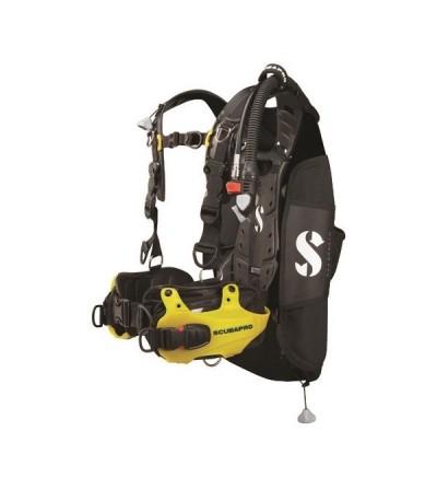 Gilet Stabilisateur réglable de plongée type dorsale loisir Scubapro Hydros Pro pour homme avec inflateur progressif BPI - jaune