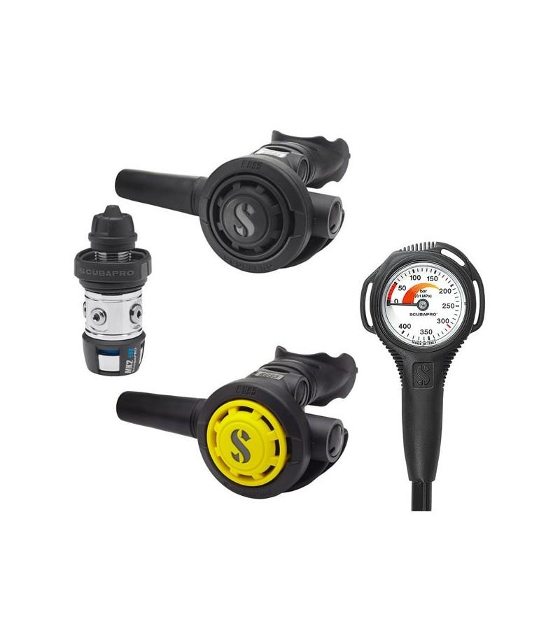 Pack détendeur non compensé de plongée à piston aval classsique Scubapro MK2 EVO DIN / R095 / octopus R095 & manomètre compact