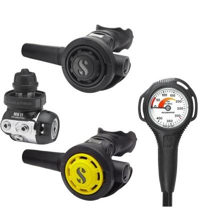 Pack détendeur compensé de plongée à piston aval classsique Scubapro MK11 DIN / R095 / octopus R095 & manomètre compact