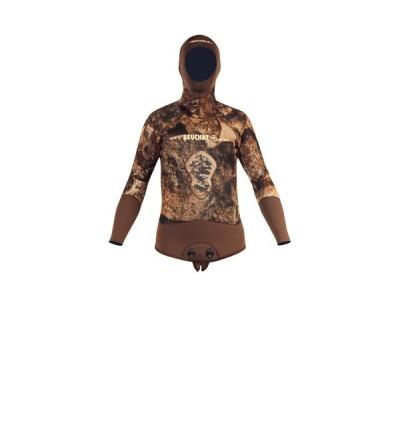 Veste Haut de combinaison Beuchat Rocksea en néoprène refendu 7mm camouflage pour la chasse sous-marine et l'apnée
