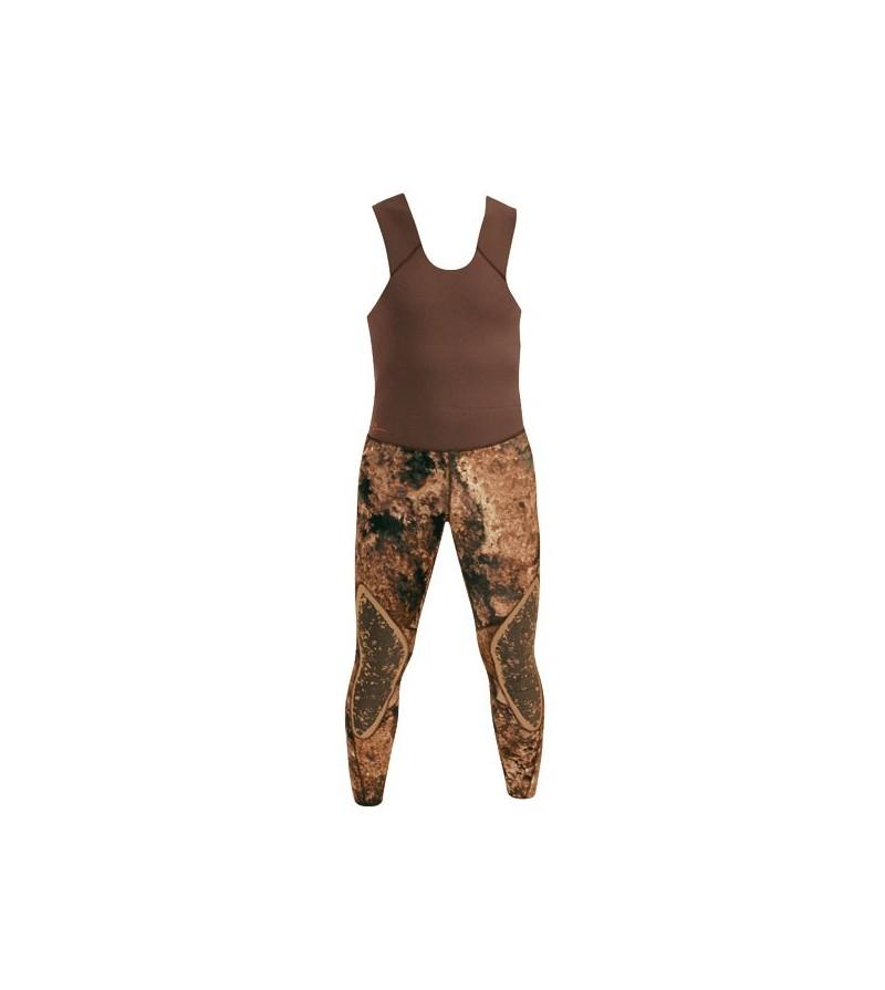 Pantalon de combinaison Beuchat Rocksea Pro en néoprène refendu 7mm camouflage pour la chasse sous-marine