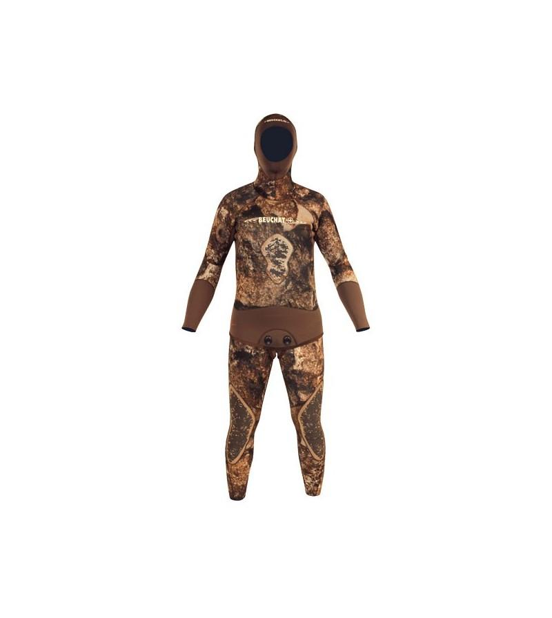 Combinaison Beuchat Rocksea veste + pantalon bas en néoprène refendu 3mm camouflage pour la chasse sous-marine et l'apnée