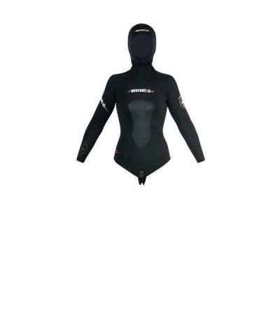 Veste Haut de combinaison femme Beuchat Athena en néoprène souple Elaskin refendu 7mm pour la chasse sous-marine et l'apnée