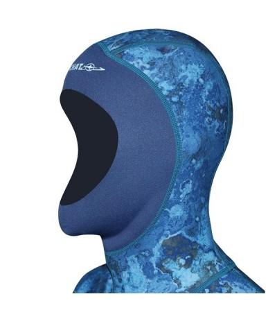 Combinaison Beuchat Rocksea veste + pantalon pro en néoprène 1.5mm camouflage bleu pour la chasse sous-marine et l'apnée