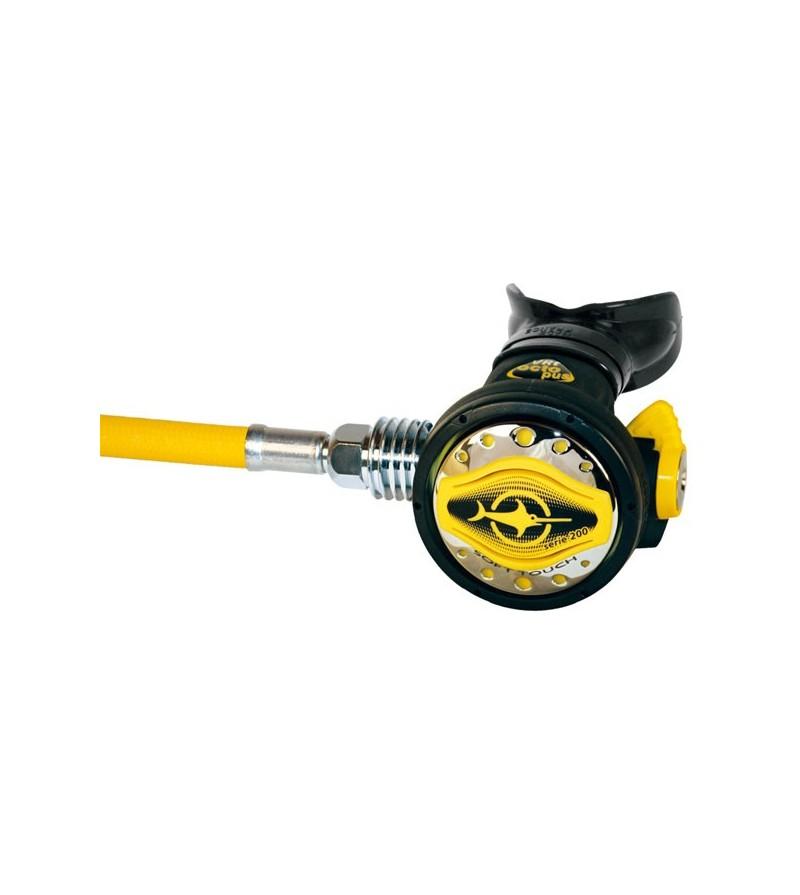 Détenteur secours Octopus compensé Beuchat VRT Soft Touch avec tuyau tressé jaune super soft de 92,5cm et venturi réglable